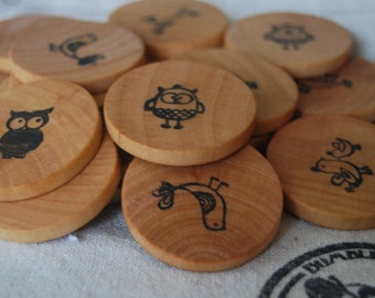 Wooden Coin Matching Game - Bird Theme