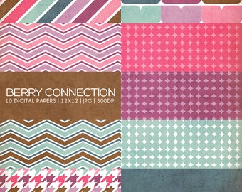 12x12 Digital Paper Collection - Berry Connection - Great for Photographers or Scrapbooking - 10 .JPG files