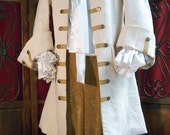 MADE TO ORDER Mens Renaissance Pirate Costume, Wedding  Frock Coat,Ivory Brocade