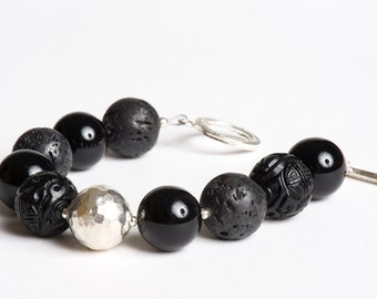Black Gemstone Bracelet - Vintage Onyx, Carved Jet, Lava, Fine and Sterling Silver - Hot Lava