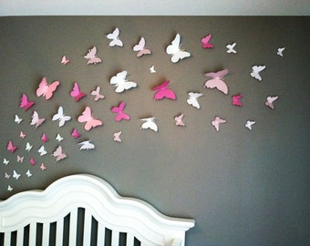 3D Butterfly Wall Art Home Decor, Girls Room, Pink and White Paper Set of 40