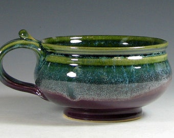 Chowder Crock, Soup bowl ceramic, French onion soup crock, cappuccino mug, glazed in purple green, handmade stoneware by hughes pottery