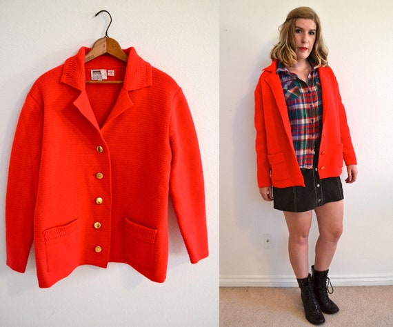 Bright red oversized sweater - button up vintage blazer - Montgomery Ward oversized jumper size L/ XL