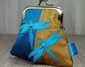 Metal Frame Purse - Triangle Shape - Peacock - Turquoise - Ochre - Gold - Dragonflies