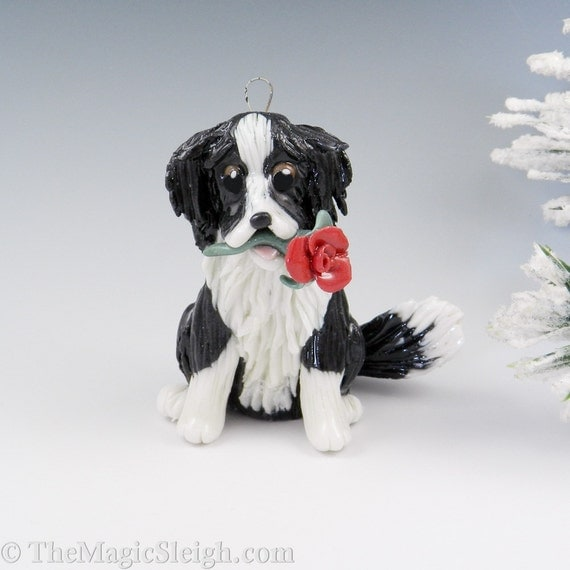 Border Collie Ornament with Red Rose Porcelain