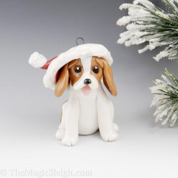 Beagle Ornament Santa Hat Porcelain