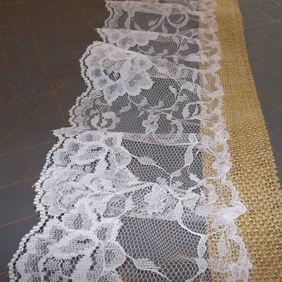 """Wide Lace and Burlap Ribbon - 5"""" x 100"""""""