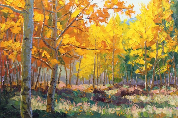 Patchwork of Color  24x36 Original LARGE Plein Air Oil Painting Impressionism Fall Autumn Aspens Birch trees
