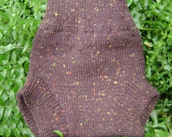 X-LARGE chestnut tweed - hand knit wool diaper soaker