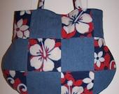 Blue Denim Hibiscus Flowers Purse Handbag