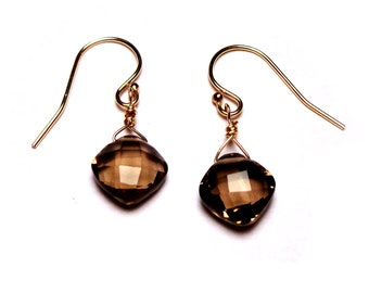 SMOKY PILLOWS Brown Smoky Quartz Briolette Gold 1 inch Dangle Earrings E215b