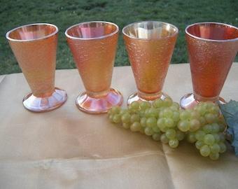 Set of 4 Four matching Amber Dragon Scale Snake skin Pattern Carnival glass Stemmed Goblets Vintage