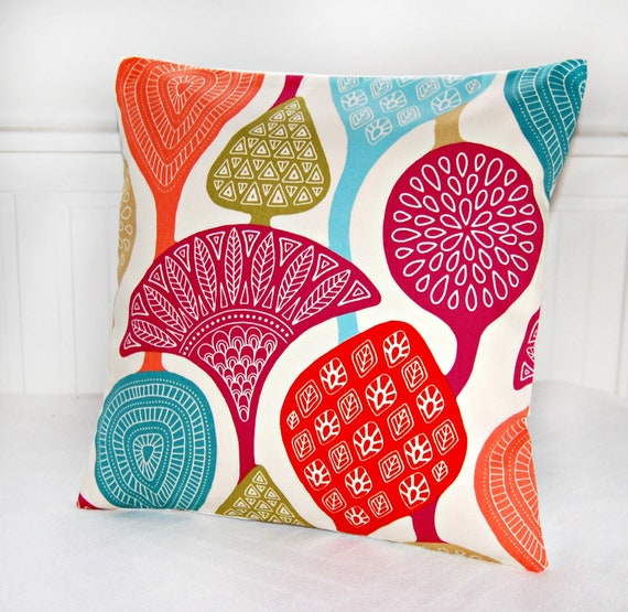 decorative pillow cover teal pink green red retro style