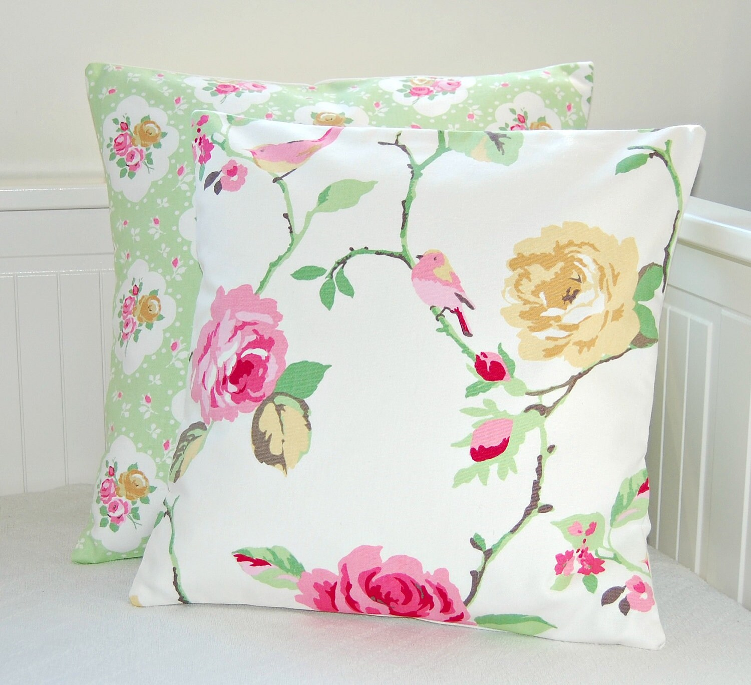 vintage shabby chic style birds pink roses by LittleJoobieBoo