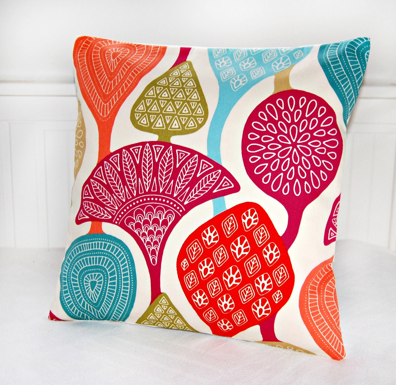 decorative pillow cover teal pink green red by LittleJoobieBoo
