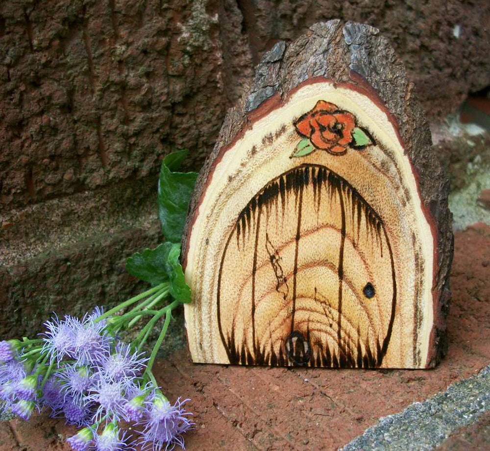Wooden fairy door fridge magnet natural and by for Wooden fairy doors