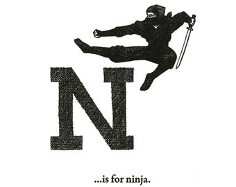 N is for Ninja - letterpress print