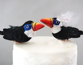 Tropical Toucan Wedding Cake Topper: Paradise Bride and Groom Love Bird Cake Topper -- LoveNesting Cake Toppers