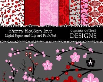 Cherry Blossoms Digital Clipart Elements and Digital Paper Set Commercial use Instant Download