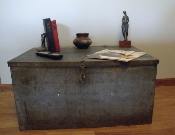 Vintage industrial galvanized steel trunk metal by wonderdiva Metal chest coffee table