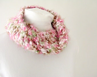 Hand Knit Pink, Brown and Green Chunky Infinity Loop Cowl Scarf for Child or Adult Female