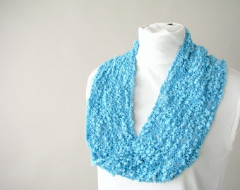 Handknit Cotton Lace Fashion Loop Scarf - Turquoise Infinity Accent Scarf - Neon Spring