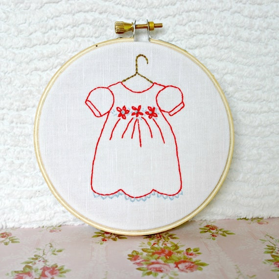 Hoop Art Nursery Decor Hand Embroidery Baby Girl Room Wall Hanging Red Light Blue Vintage Dress MADE TO ORDER