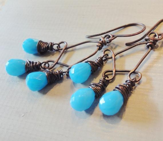 Bright Blue Earrings Rustic Antiqued Copper Wire Wrapped Earrings Chandelier Earrings Spring Fashion