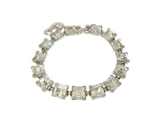 Vintage Bogoff Rhinestone Bracelet French Faux Diamonds 1940s Wedding Jewelry