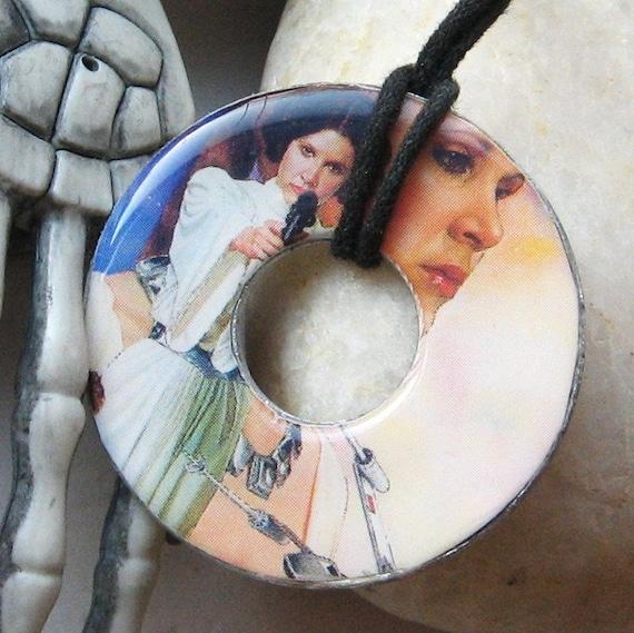 Princess Leia Vintage Paper Upcycled Washer Pendant Necklace Star Wars Design 2.5