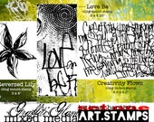 Graffiti Glam rubber stamps limited edition SET ONE