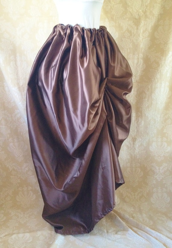 Chocolate Brown Bustle Full Length Skirt-One Size Fits All