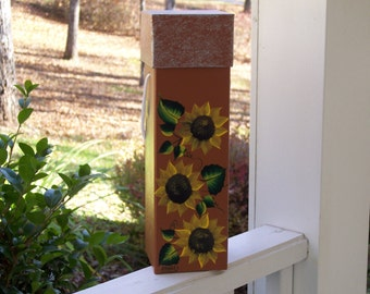 Hand Painted Papier-Mache Box with Sunflowers