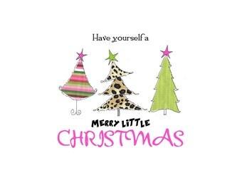 Christmas whimsical trees Merry Christmas notecards christmas trees Christmas stationery original art hand drawn custom Christmas cards