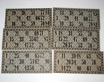 6 Black and Grey Vintage Lotto Cards for Altered Art, Paper Crafts, Collage, etc.