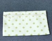 Small Zipper Canvas Pouch - Mint Polka Dots