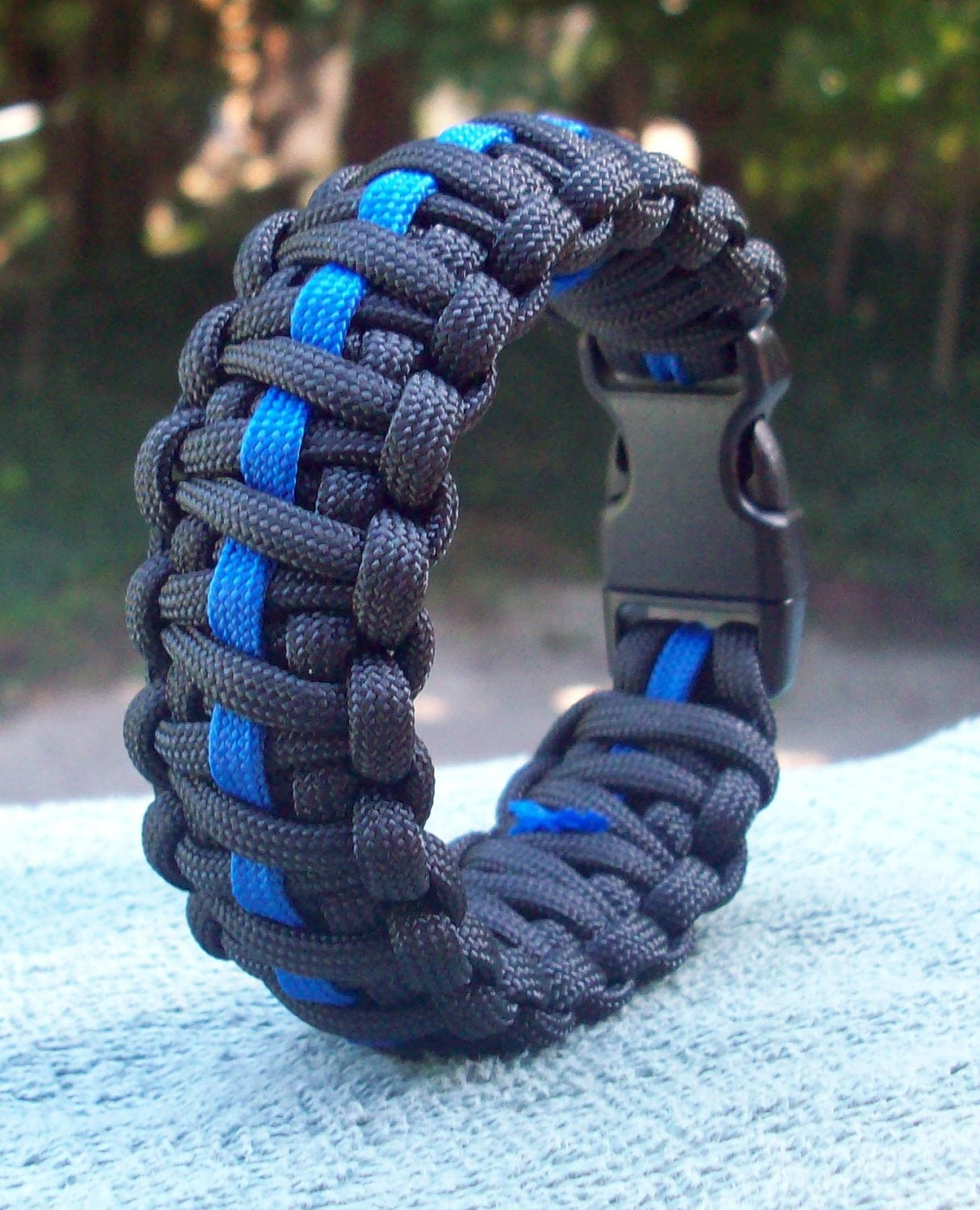 Thin Blue Line Paracord Bracelet King Cobra Style Police