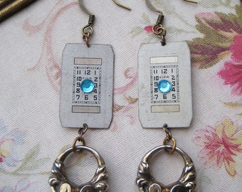 Steampunk Earrings upcycled antique watch faces altered robins egg blue swaravski rhinestones vintage art deco
