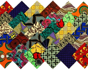 "30 5"" Fabric Squares African 15 Patterns Quilting"