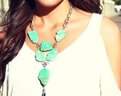 Turquoise Spike necklace -statement necklace-boho bohemian turqouise necklace