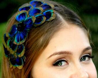 PEACOCK BOW feather headband