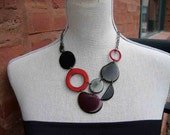 Red Gray Black adjustable necklace