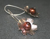 Flower Earrings in Sterling with Brown Pearls on Elongated Ear Wires