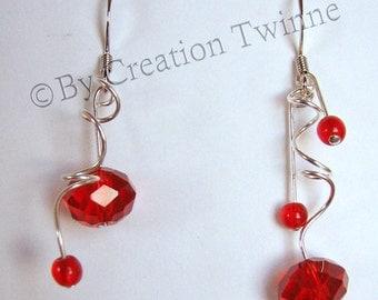 red spirals earrings, bridesmaids earrings, christmas gift idea, mother gift, delicate earrings, wedding jewelry, asymmetrical earring