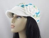 Hand Crochet Baseball Cap Cotton Adjustable Band Summer Flare