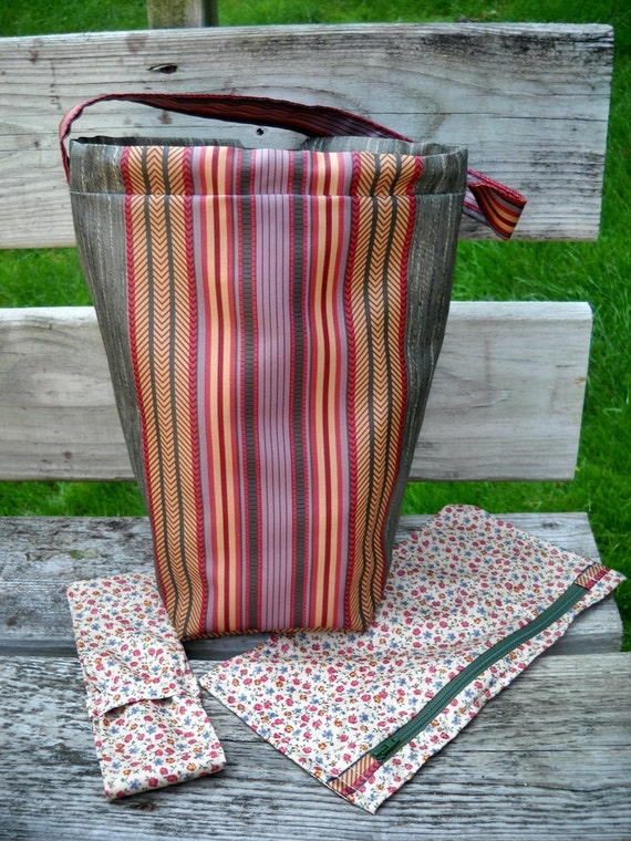 Knitting Project Bag, Zipper Accessory Pouch, DPN Case, Pockets, Lined, Padded, Drawstring, Green stripe sateen, Handmade - Ships Free