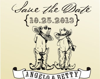 Cowboy and Gowgirl DIY vintage SAVE The DATE rubber stamp clear block mounted -style 6050SAVEtheDATE  - custom wedding stationary
