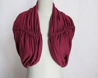 braided neckcowl jersey in bordaux burgundy