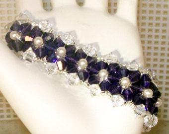 Swarovski Crystal Jewelry - Bride, Bridesmaids, Maid of Honor Bracelet - Any Color - Shown in Purple Velvet