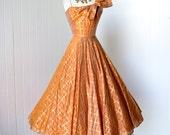 vintage 1950's dress ...stunning FRANK STARR ORIGINAL tangerine organza w/gold asymmetrical bodice full circle skirt party dress